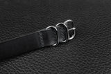 THOS Italian Black 3 Ring Pass Through Leather Strap