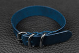 THOS Italian Blue 3 Ring Pass Through Leather Strap