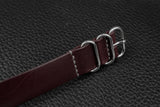 THOS Italian Burgundy 3 Ring Pass Through Leather Strap