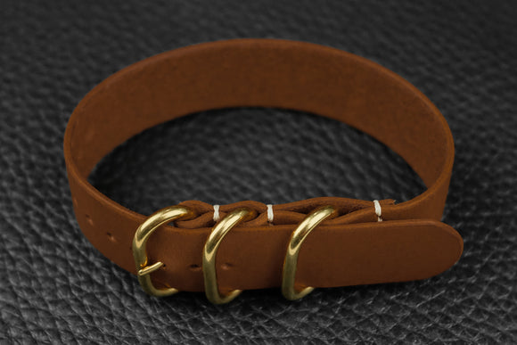 THOS Italian Chestnut 3 Ring Pass Through Leather Strap