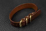 THOS Italian Chocolate 3 Ring Pass Through Leather Strap