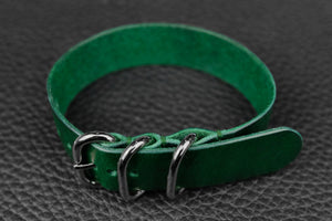 THOS Italian Green 3 Ring Pass Through Leather Strap