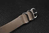 THOS Italian Grey 3 Ring Pass Through Leather Strap