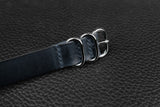 THOS Italian Navy 3 Ring Pass Through Leather Strap