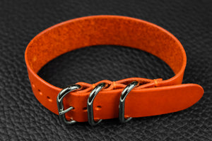 THOS Italian Orange 3 Ring Pass Through Leather Strap