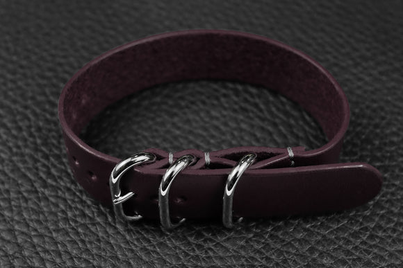 THOS Italian Purple 3 Ring Pass Through Leather Strap