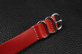 THOS Italian Red 3 Ring Pass Through Leather Strap