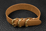 THOS Italian Sand 3 Ring Pass Through Leather Strap
