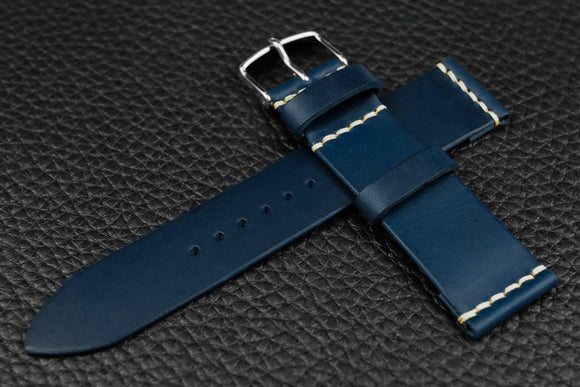 THOS Italian Blue Unlined Leather Watch Strap