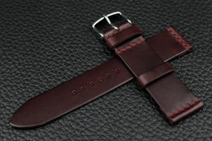 THOS Italian Burgundy Unlined Leather Watch Strap