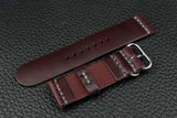 Italian Burgundy Unlined Rounded Buckle Leather Watch Strap