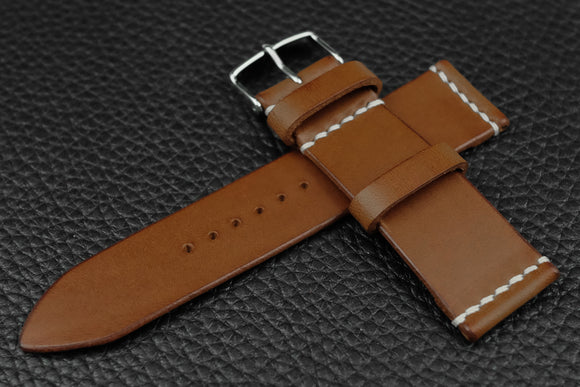 THOS Italian Chestnut Unlined Leather Watch Strap
