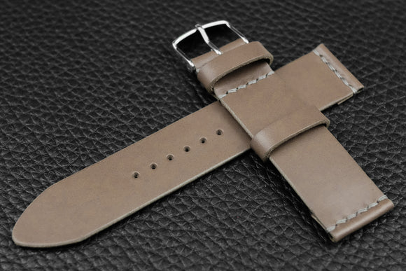 THOS Italian Grey Unlined Leather Watch Strap