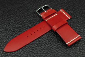 THOS Italian Red Unlined Leather Watch Strap