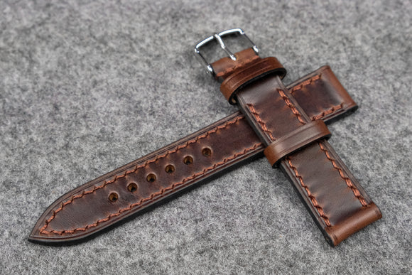 NEW: Horween Chromexcel Brown Full Stitch Leather Watch Strap