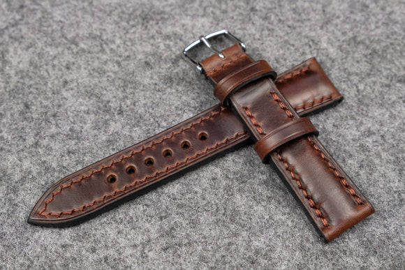 NEW: Horween Chromexcel Brown Half Padded Leather Watch Strap