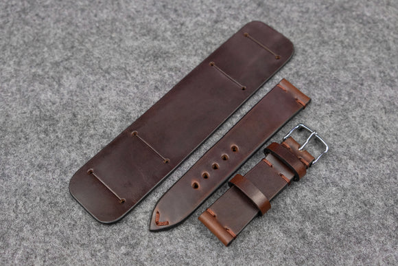 Horween Chromexcel Brown Side Stitch Newman Bund Watch Strap