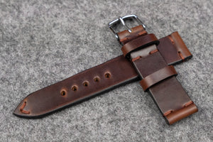 NEW: Horween Chromexcel Brown Side Stitch Leather Watch Strap