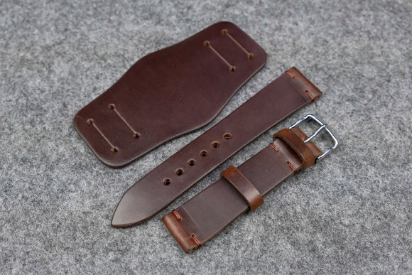 NEW: Horween Chromexcel Brown Unlined Side Stitch Leather Bund Watch Strap