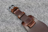 Horween Chromexcel Brown Unlined Side Stitch Leather Bund Watch Strap