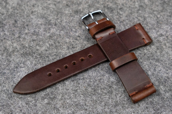 NEW: Horween Chromexcel Brown Unlined Side Stitch Leather Watch Strap