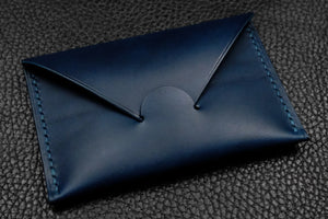 Italian Leather Card Wallet (Blue)