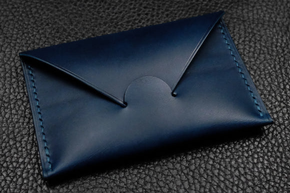NEW: Italian Leather Card Wallet (Blue)