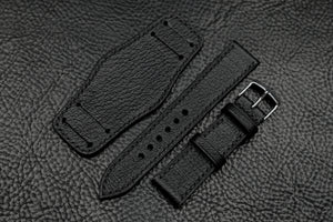 NEW: Chevre Black Full Stitch Leather Bund Watch Strap