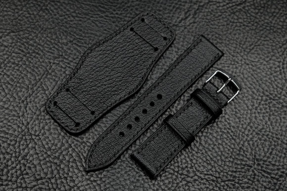 Chevre Black Full Stitch Leather Bund Watch Strap