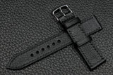 Chevre Black Full Stitch Leather Watch Strap