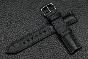 NEW: Chevre Black Half Padded Leather Watch Strap