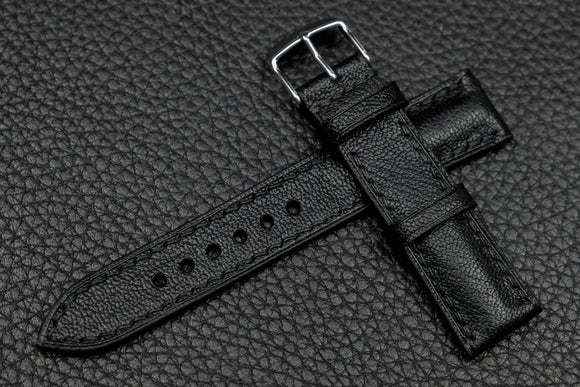 Chevre Black Half Padded Leather Watch Strap