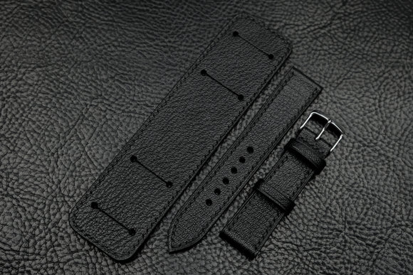 Chevre Black Full Stitch Newman Bund Watch Strap