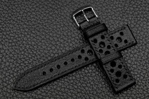 Chevre Black Racing Leather Watch Strap