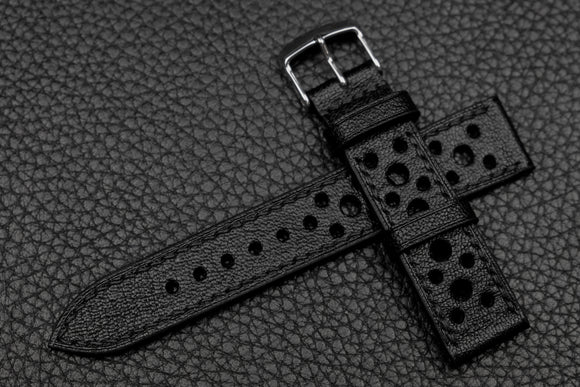 NEW: Chevre Black Racing Leather Watch Strap