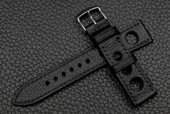 NEW: Chevre Black Rally Leather Watch Strap