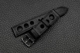 Chevre Black Rally Leather Watch Strap