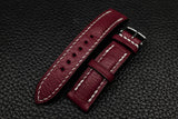 NEW: Alran Chevre Burgundy Half Padded Leather Watch Strap