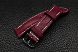 Alran Chevre Burgundy Half Padded Leather Watch Strap