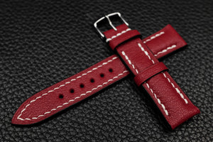Alran Chevre Dark Red Half Padded Leather Watch Strap