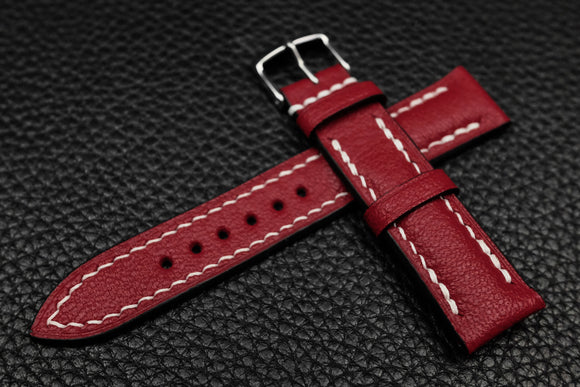 NEW: Alran Chevre Dark Red Half Padded Leather Watch Strap