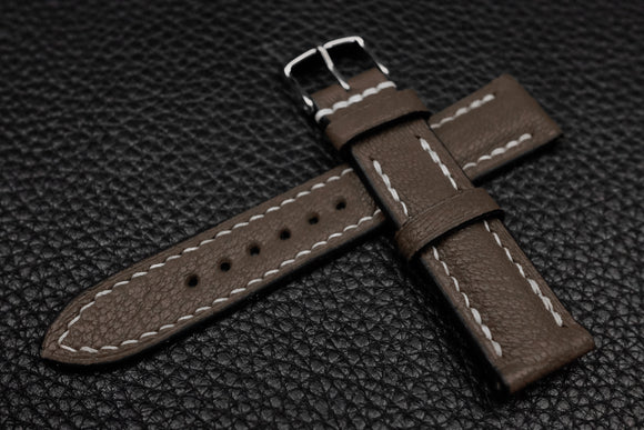 Alran Chevre Dark Taupe Half Padded Leather Watch Strap