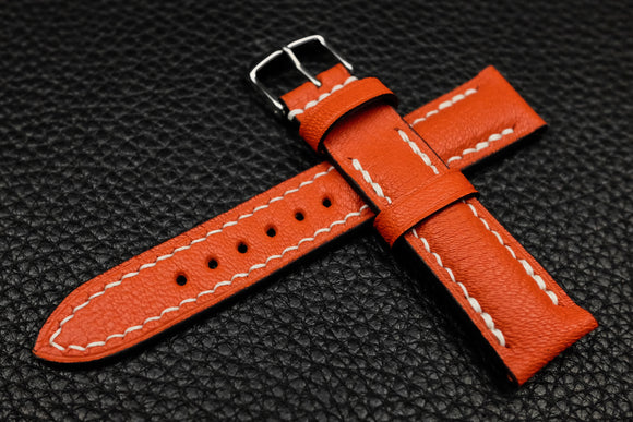 NEW: Alran Chevre Fluo Orange Half Padded Leather Watch Strap
