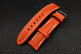 Alran Chevre Fluo Orange Half Padded Leather Watch Strap