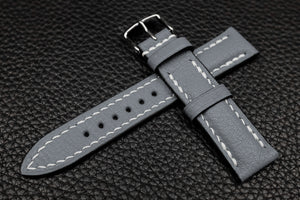 Alran Chevre Grey Half Padded Leather Watch Strap