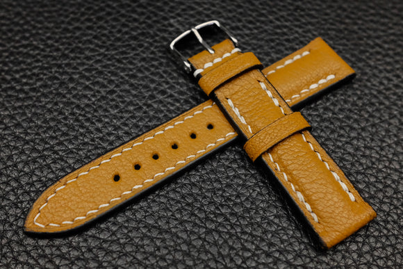 NEW: Alran Chevre Mustard Half Padded Leather Watch Strap