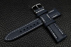Alran Chevre Navy Half Padded Leather Watch Strap