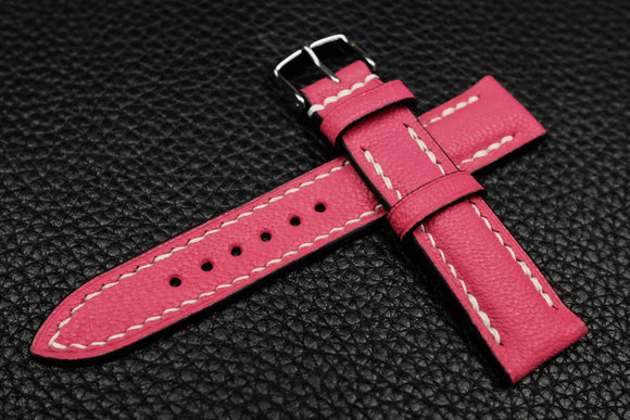 NEW: Alran Chevre Fluo Pink Half Padded Leather Watch Strap