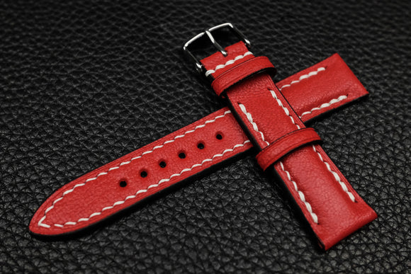 Alran Chevre Red Half Padded Leather Watch Strap