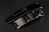 Shell Cordovan Black Unlined Side Stitch Leather Watch Strap